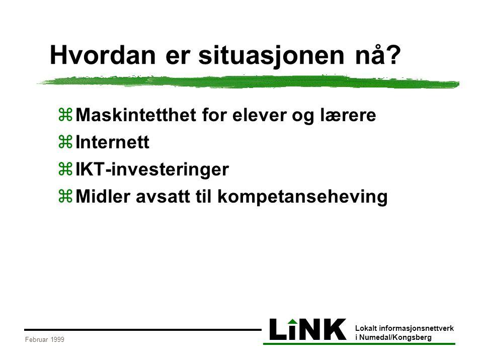 LiNK Lokalt informasjonsnettverk i Numedal/Kongsberg Februar 1999 Hvordan er situasjonen nå.