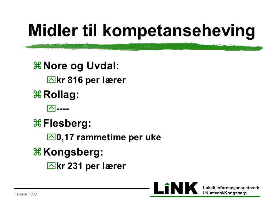LiNK Lokalt informasjonsnettverk i Numedal/Kongsberg Februar 1999 Midler til kompetanseheving  Nore og Uvdal:  kr 816 per lærer  Rollag:  ----  Flesberg:  0,17 rammetime per uke  Kongsberg:  kr 231 per lærer