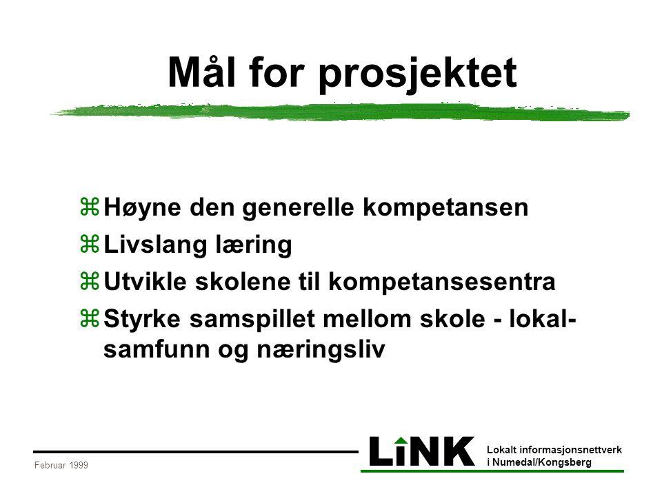LiNK Lokalt informasjonsnettverk i Numedal/Kongsberg Februar 1999 Mål for prosjektet  Høyne den generelle kompetansen  Livslang læring  Utvikle skolene til kompetansesentra  Styrke samspillet mellom skole - lokal- samfunn og næringsliv