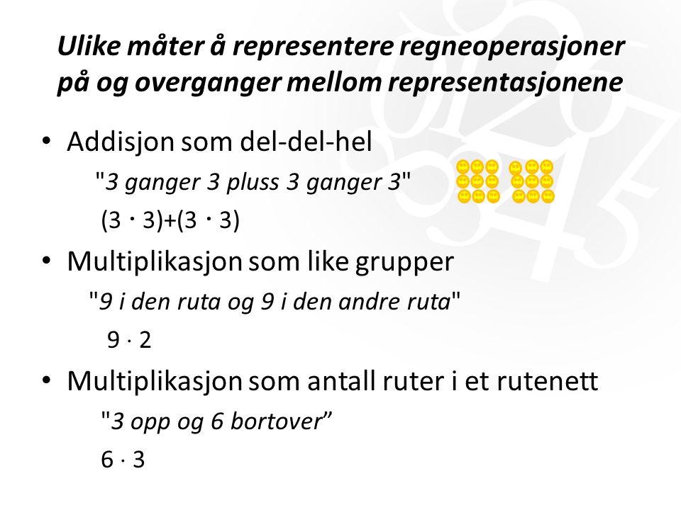 Ulike måter å representere regneoperasjoner på og overganger mellom representasjonene Addisjon som del-del-hel 3 ganger 3 pluss 3 ganger 3 (3  3)+(3  3) Multiplikasjon som like grupper 9 i den ruta og 9 i den andre ruta 9  2 Multiplikasjon som antall ruter i et rutenett 3 opp og 6 bortover 6  3
