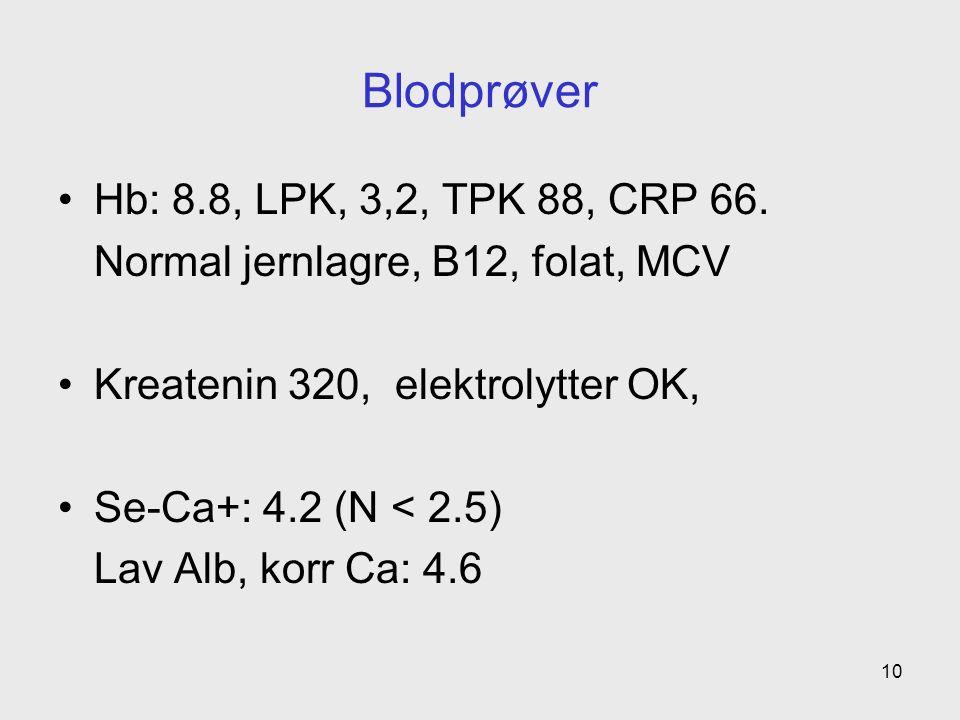 Blodprøver Hb: 8.8, LPK, 3,2, TPK 88, CRP 66.