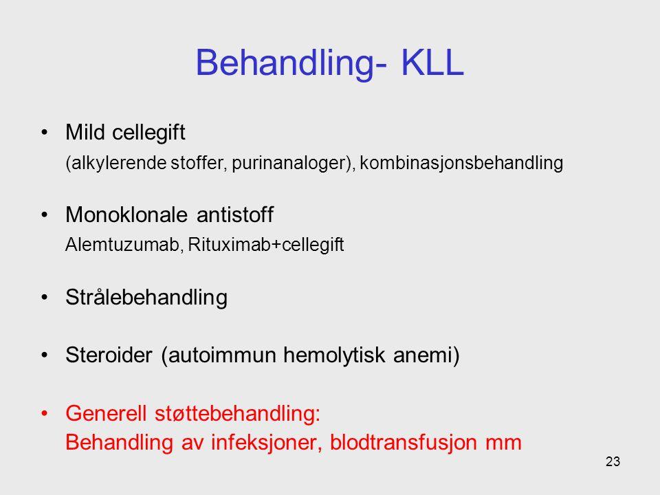 Behandling- KLL Mild cellegift (alkylerende stoffer, purinanaloger), kombinasjonsbehandling Monoklonale antistoff Alemtuzumab, Rituximab+cellegift Strålebehandling Steroider (autoimmun hemolytisk anemi) Generell støttebehandling: Behandling av infeksjoner, blodtransfusjon mm 23
