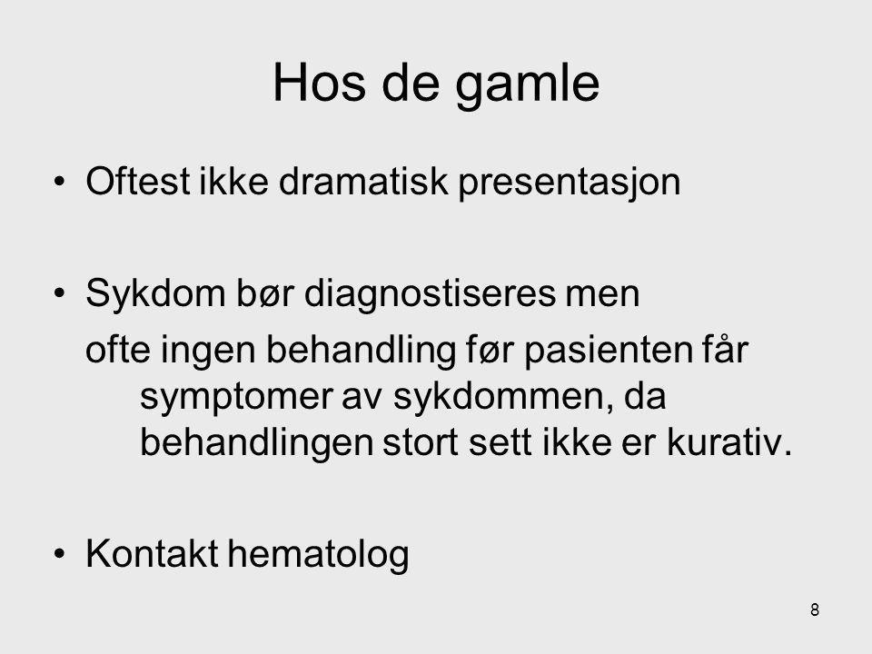 - Prognose og behandlingsindikasjon er avhengig av stadium Binet klinisk Stadium ABC Anntall involverte lynfeknuteregioner 0-23-50-5 Hb (g/l)>10 < 10 og /eller TPK (10 9 /l)>100 < 100 Overlevelse (år)> 1052,6 19
