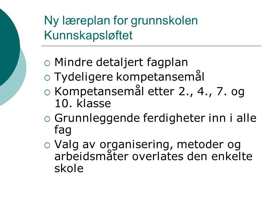 Ny læreplan for grunnskolen Kunnskapsløftet  Mindre detaljert fagplan  Tydeligere kompetansemål  Kompetansemål etter 2., 4., 7.