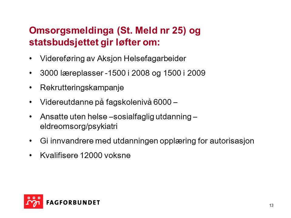 13 Omsorgsmeldinga (St. Meld nr 25) og statsbudsjettet gir løfter om: Videreføring av Aksjon Helsefagarbeider 3000 læreplasser -1500 i 2008 og 1500 i