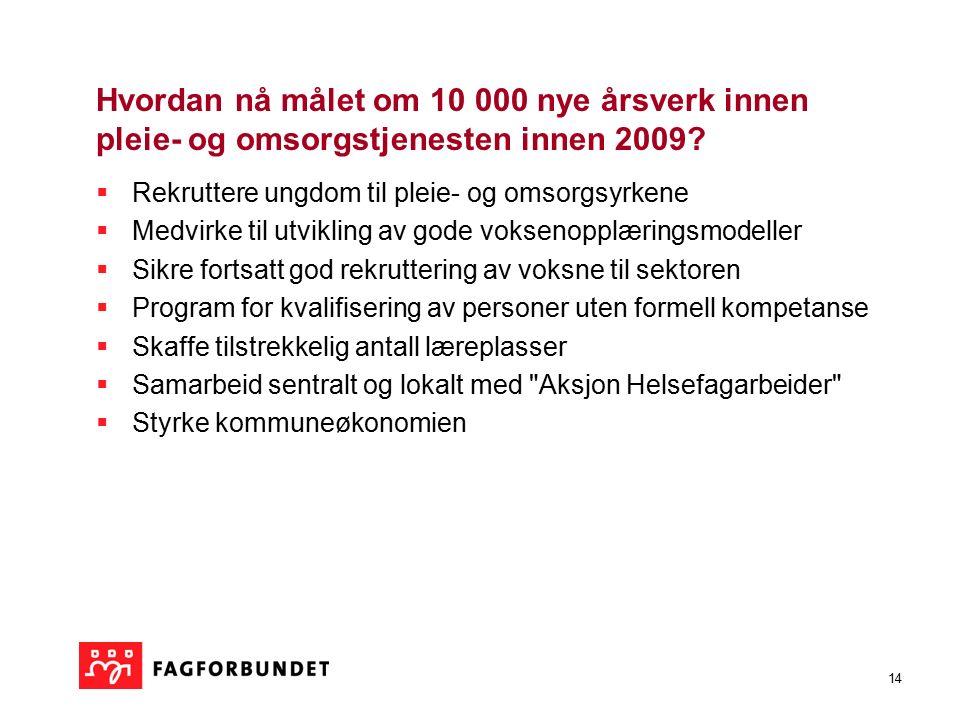 14 Hvordan nå målet om 10 000 nye årsverk innen pleie- og omsorgstjenesten innen 2009.