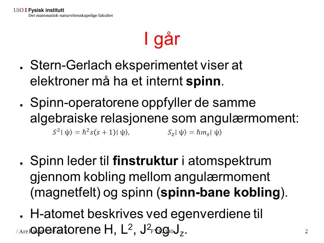 / Are Raklev / 05.04.11FYS21402 I går ● Stern-Gerlach eksperimentet viser at elektroner må ha et internt spinn.