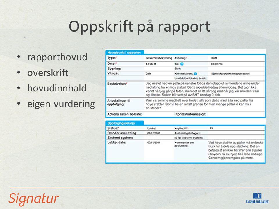 Oppskrift på rapport rapporthovud overskrift hovudinnhald eigen vurdering