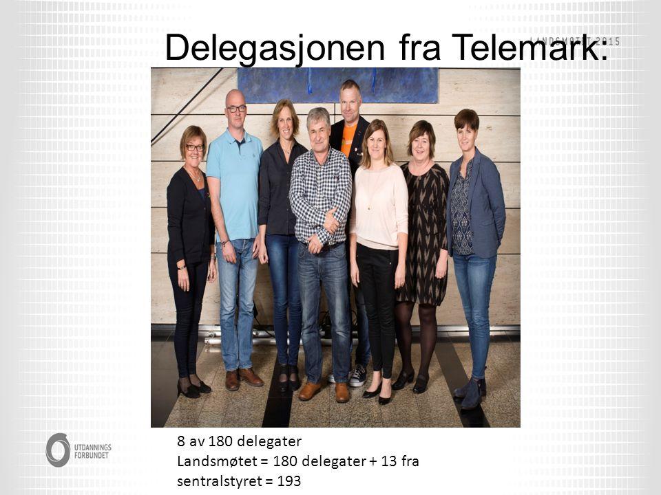 Delegasjonen fra Telemark: 8 av 180 delegater Landsmøtet = 180 delegater + 13 fra sentralstyret = 193