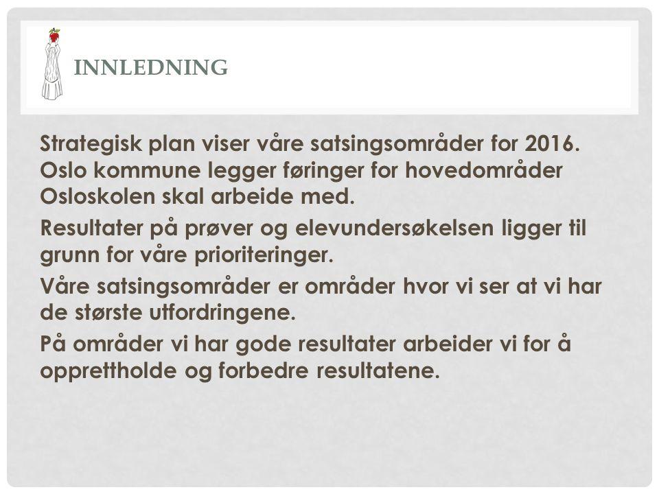 INNLEDNING Strategisk plan viser våre satsingsområder for 2016. Oslo kommune legger føringer for hovedområder Osloskolen skal arbeide med. Resultater