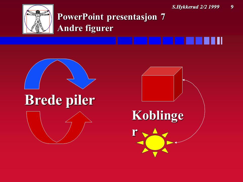 S.Hykkerud 2/2 1999 9 PowerPoint presentasjon 7 Andre figurer Brede piler Koblinge r