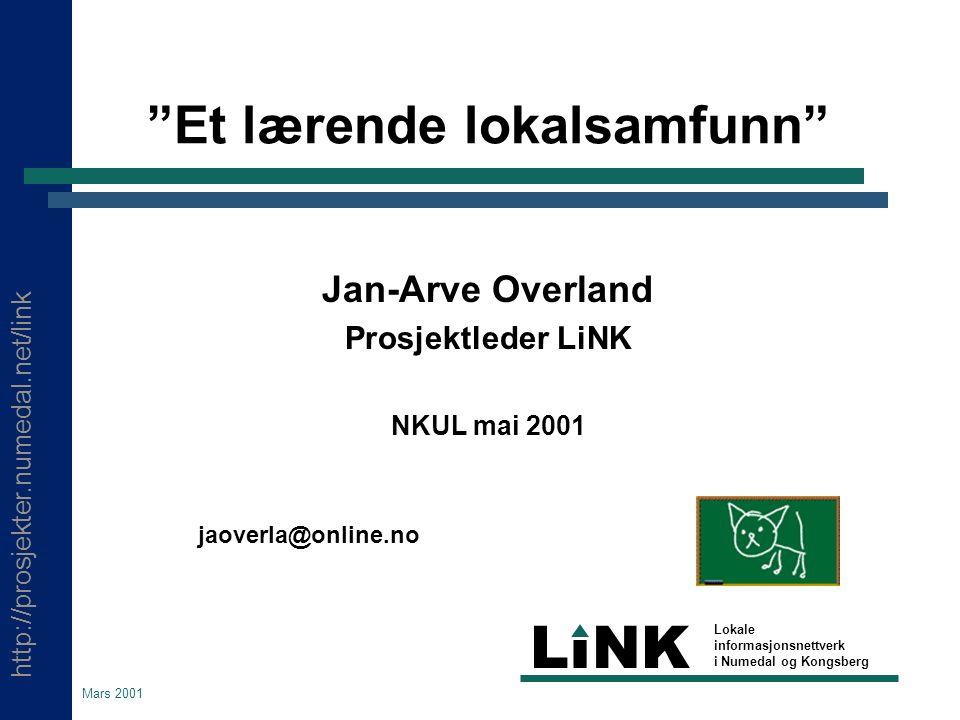 http://prosjekter.numedal.net/link LINK Lokale informasjonsnettverk i Numedal og Kongsberg Mai 2001 Skolene som ressurssentra  Utprøving av modell for etter- og videreutdanning  Utdanning av IKT-ped.