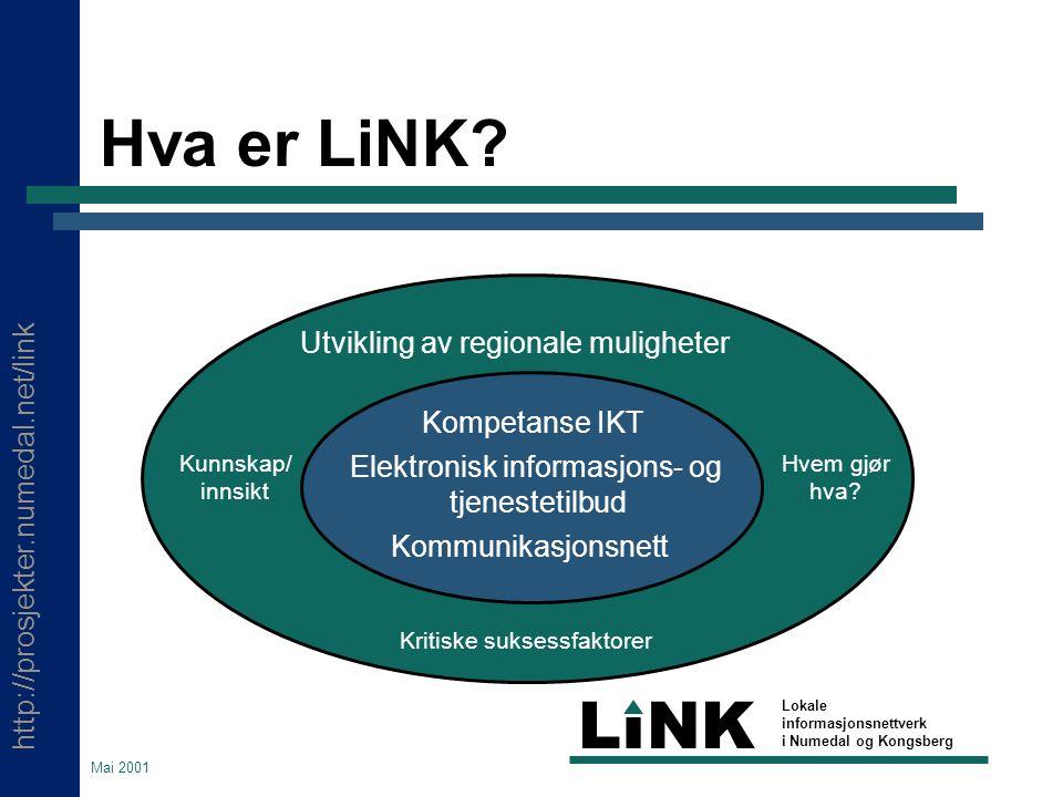 http://prosjekter.numedal.net/link LINK Lokale informasjonsnettverk i Numedal og Kongsberg Mai 2001 Konkrete tiltak  Tinius Olsen vgs.