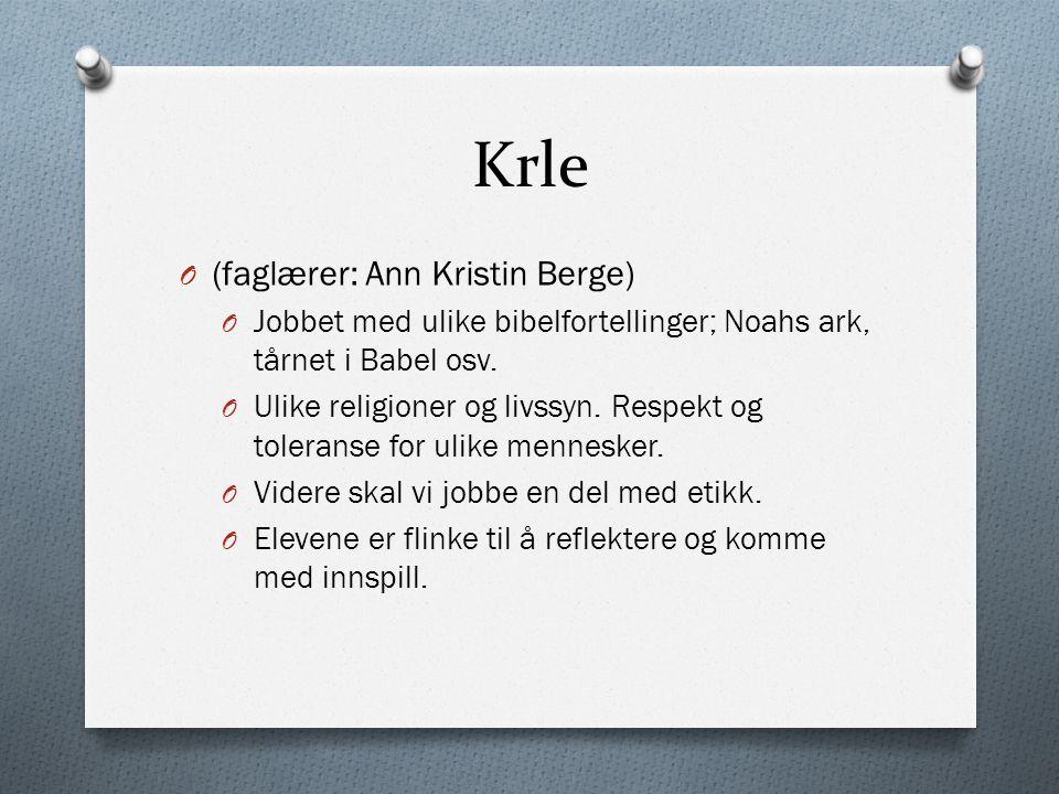Krle O (faglærer: Ann Kristin Berge) O Jobbet med ulike bibelfortellinger; Noahs ark, tårnet i Babel osv.