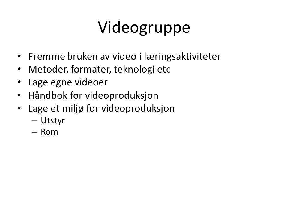 Videogruppe Fremme bruken av video i læringsaktiviteter Metoder, formater, teknologi etc Lage egne videoer Håndbok for videoproduksjon Lage et miljø for videoproduksjon – Utstyr – Rom