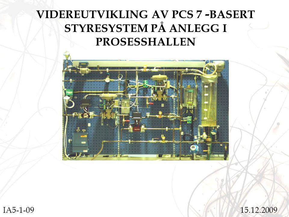 VIDEREUTVIKLING AV PCS 7 - BASERT STYRESYSTEM PÅ ANLEGG I PROSESSHALLEN IA5-1-09 15.12.2009