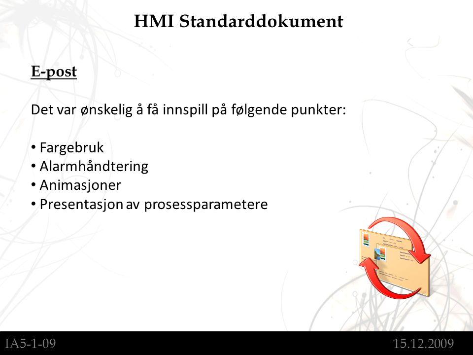 IA5-1-09 15.12.2009 HMI Standarddokument E-post Det var ønskelig å få innspill på følgende punkter: Fargebruk Alarmhåndtering Animasjoner Presentasjon av prosessparametere