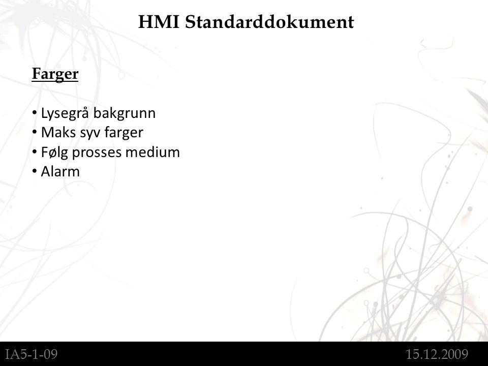 IA5-1-09 15.12.2009 HMI Standarddokument Farger Lysegrå bakgrunn Maks syv farger Følg prosses medium Alarm