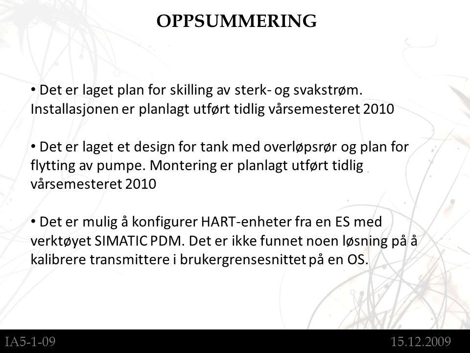IA5-1-09 15.12.2009 OPPSUMMERING Det er laget plan for skilling av sterk- og svakstrøm.