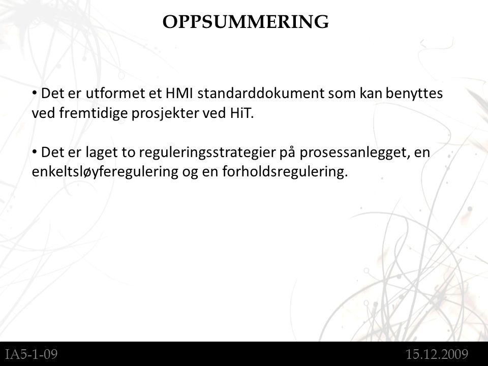 IA5-1-09 15.12.2009 OPPSUMMERING Det er utformet et HMI standarddokument som kan benyttes ved fremtidige prosjekter ved HiT.