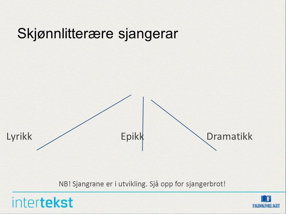 Skjønnlitterære sjangerar LyrikkEpikkDramatikk NB! Sjangrane er i utvikling. Sjå opp for sjangerbrot!