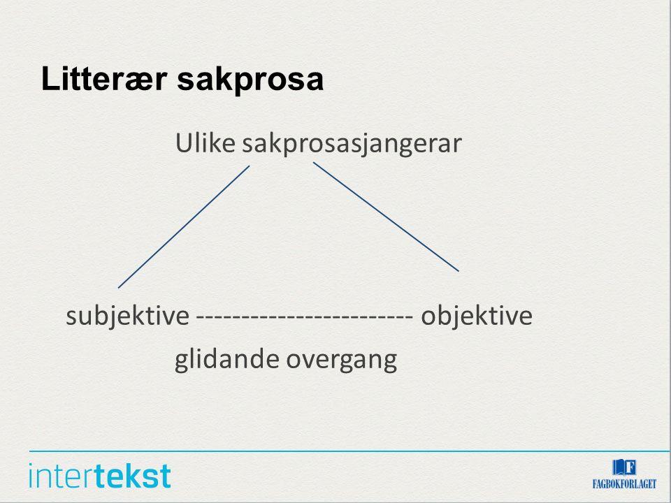 Litterær sakprosa Ulike sakprosasjangerar subjektive ------------------------ objektive glidande overgang