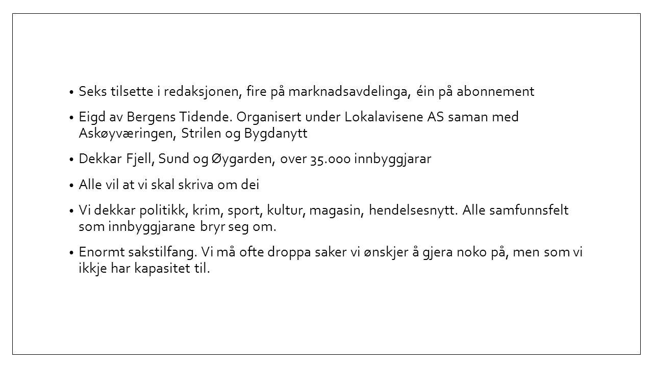 Seks tilsette i redaksjonen, fire på marknadsavdelinga, éin på abonnement Eigd av Bergens Tidende.