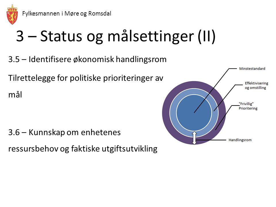 3 – Status og målsettinger (II) 3.5 – Identifisere økonomisk handlingsrom Tilrettelegge for politiske prioriteringer av mål 3.6 – Kunnskap om enhetenes ressursbehov og faktiske utgiftsutvikling