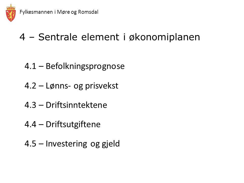 Fylkesmannen i Møre og Romsdal 4.1 – Befolkningsprognose 4.2 – Lønns- og prisvekst 4.3 – Driftsinntektene 4.4 – Driftsutgiftene 4.5 – Investering og gjeld 4 – Sentrale element i økonomiplanen