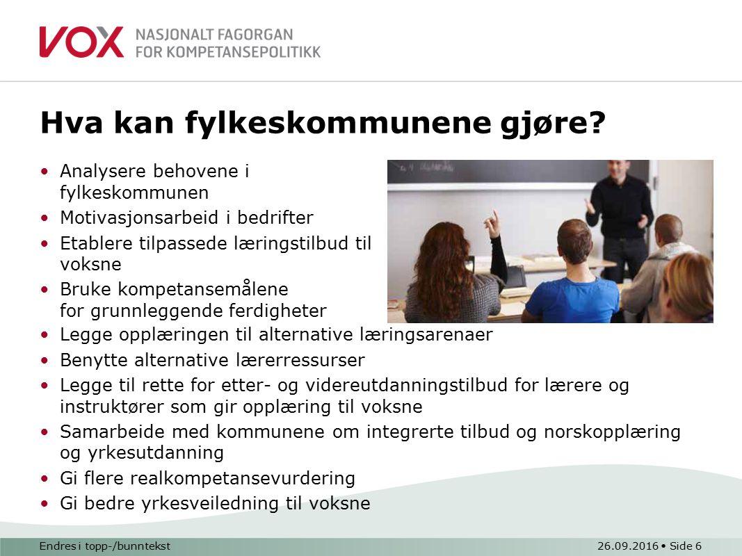 Endres i topp-/bunntekst26.09.2016 Side 6 Hva kan fylkeskommunene gjøre.