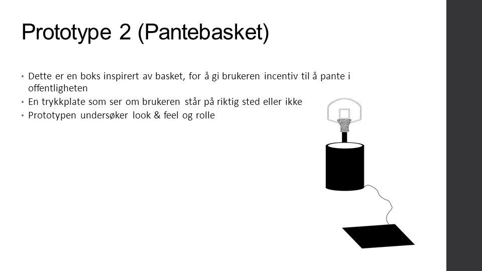 Prototype 2 (Pantebasket) Dette er en boks inspirert av basket, for å gi brukeren incentiv til å pante i offentligheten En trykkplate som ser om brukeren står på riktig sted eller ikke Prototypen undersøker look & feel og rolle