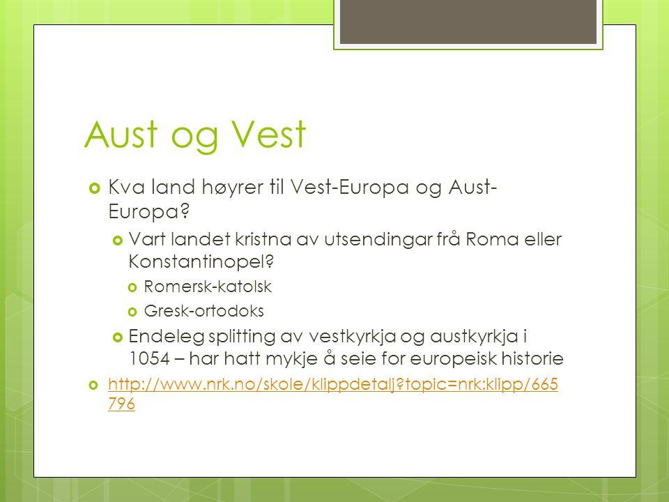 Aust og Vest  Kva land høyrer til Vest-Europa og Aust- Europa.