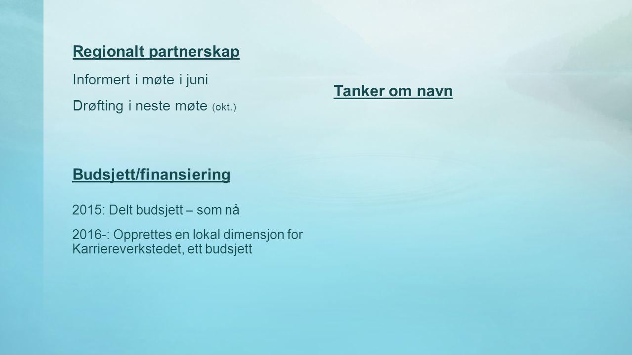 Regionalt partnerskap Informert i møte i juni Drøfting i neste møte (okt.) Tanker om navn 2015: Delt budsjett – som nå 2016-: Opprettes en lokal dimen
