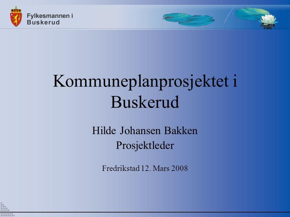 Kommuneplanprosjektet i Buskerud Hilde Johansen Bakken Prosjektleder Fredrikstad 12. Mars 2008