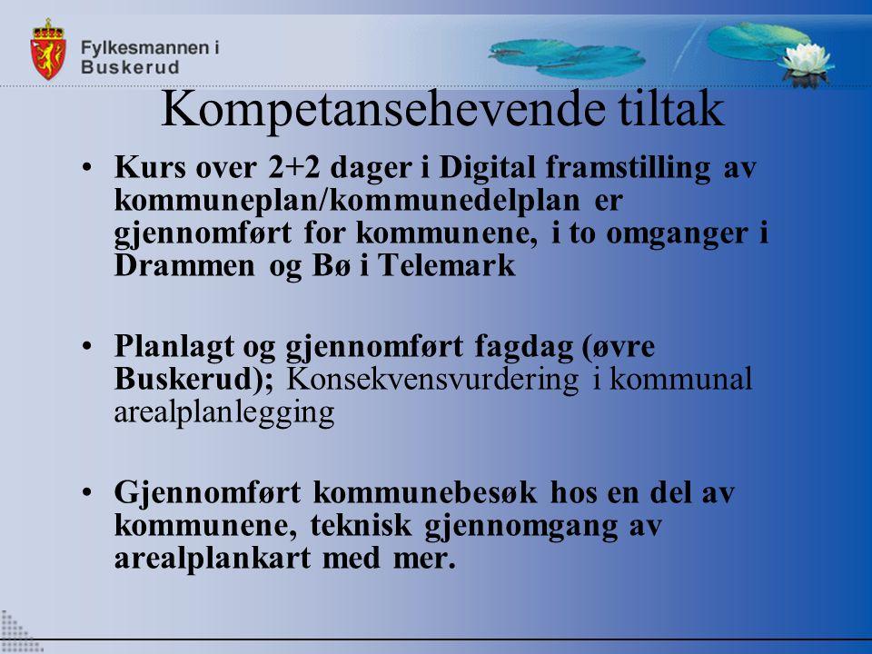 Kompetansehevende tiltak Kurs over 2+2 dager i Digital framstilling av kommuneplan/kommunedelplan er gjennomført for kommunene, i to omganger i Drammen og Bø i Telemark Planlagt og gjennomført fagdag (øvre Buskerud); Konsekvensvurdering i kommunal arealplanlegging Gjennomført kommunebesøk hos en del av kommunene, teknisk gjennomgang av arealplankart med mer.