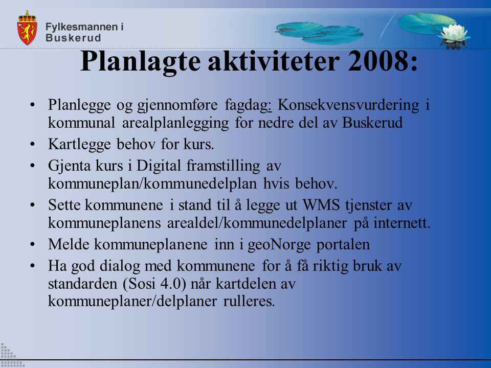 Planlagte aktiviteter 2008: Planlegge og gjennomføre fagdag: Konsekvensvurdering i kommunal arealplanlegging for nedre del av Buskerud Kartlegge behov for kurs.
