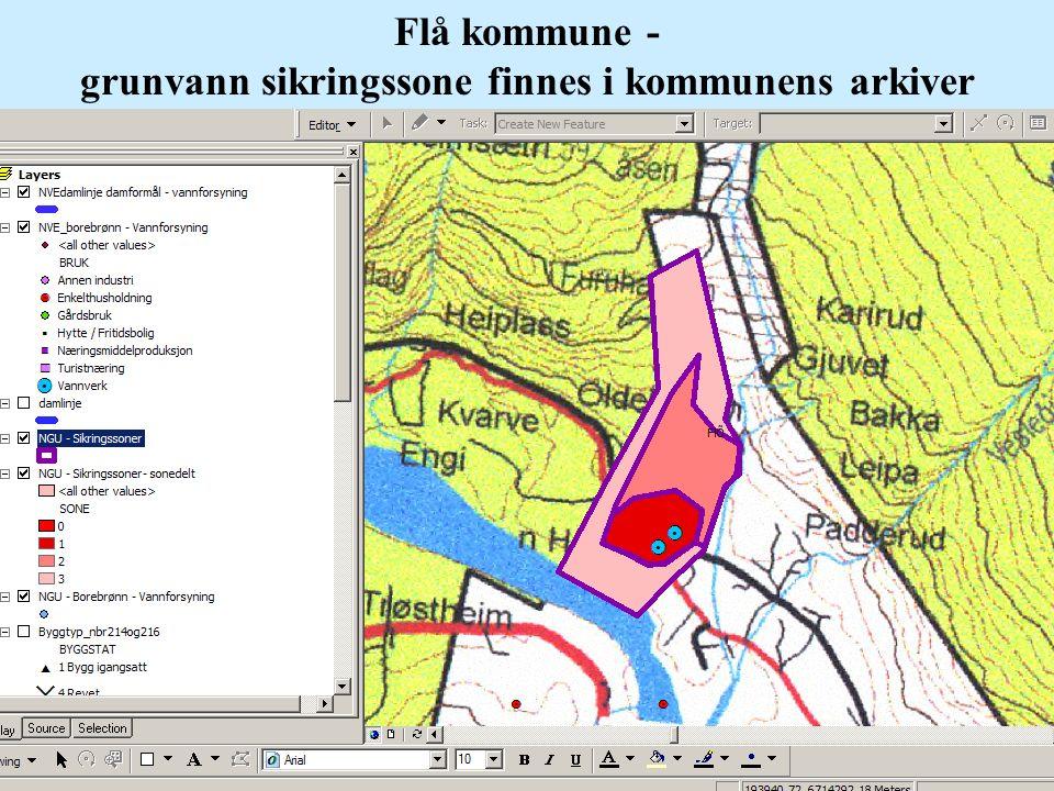 Flå kommune - grunvann sikringssone finnes i kommunens arkiver