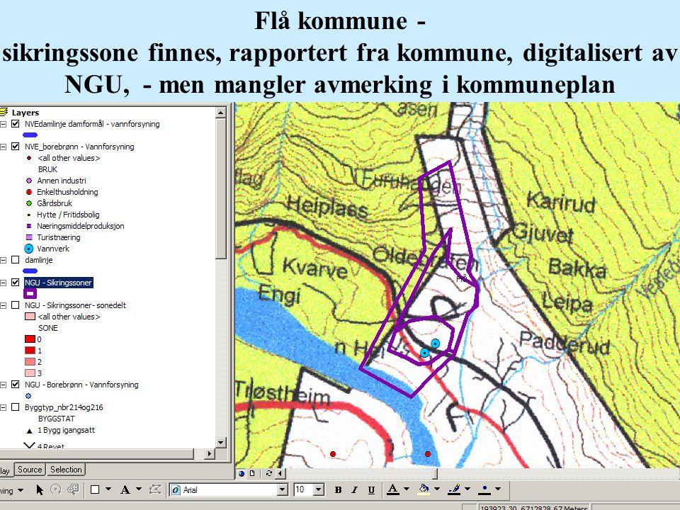 Flå kommune - sikringssone finnes, rapportert fra kommune, digitalisert av NGU, - men mangler avmerking i kommuneplan
