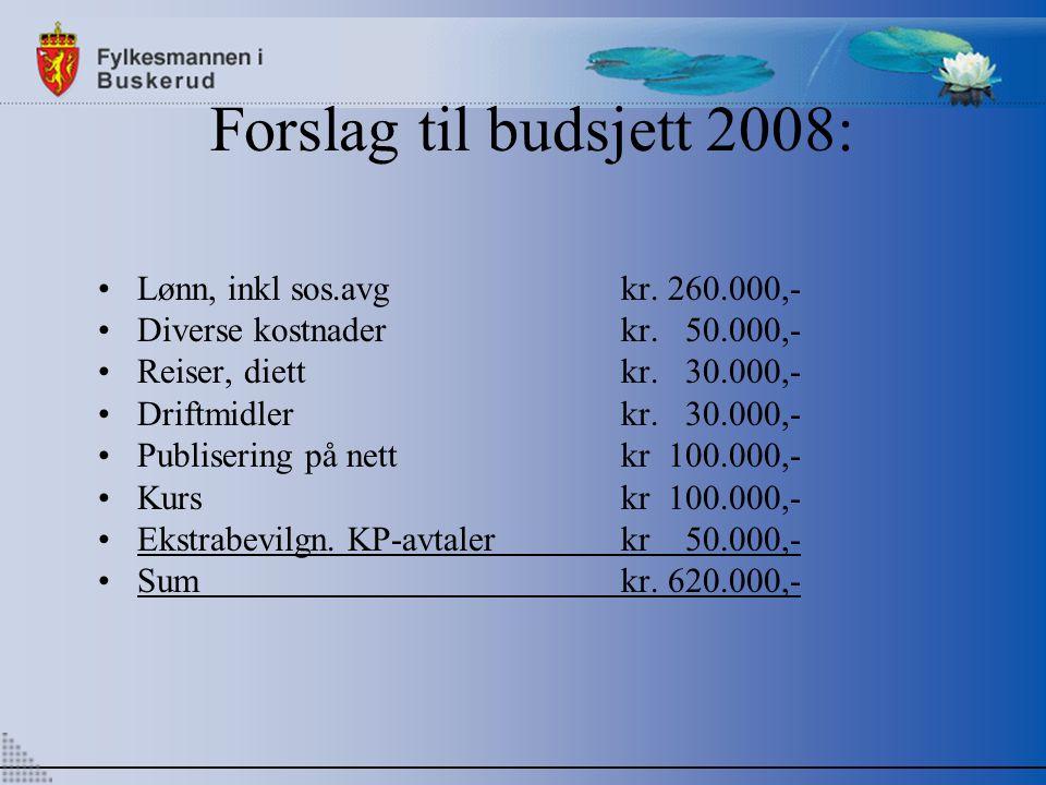 Forslag til budsjett 2008: Lønn, inkl sos.avgkr. 260.000,- Diverse kostnaderkr.