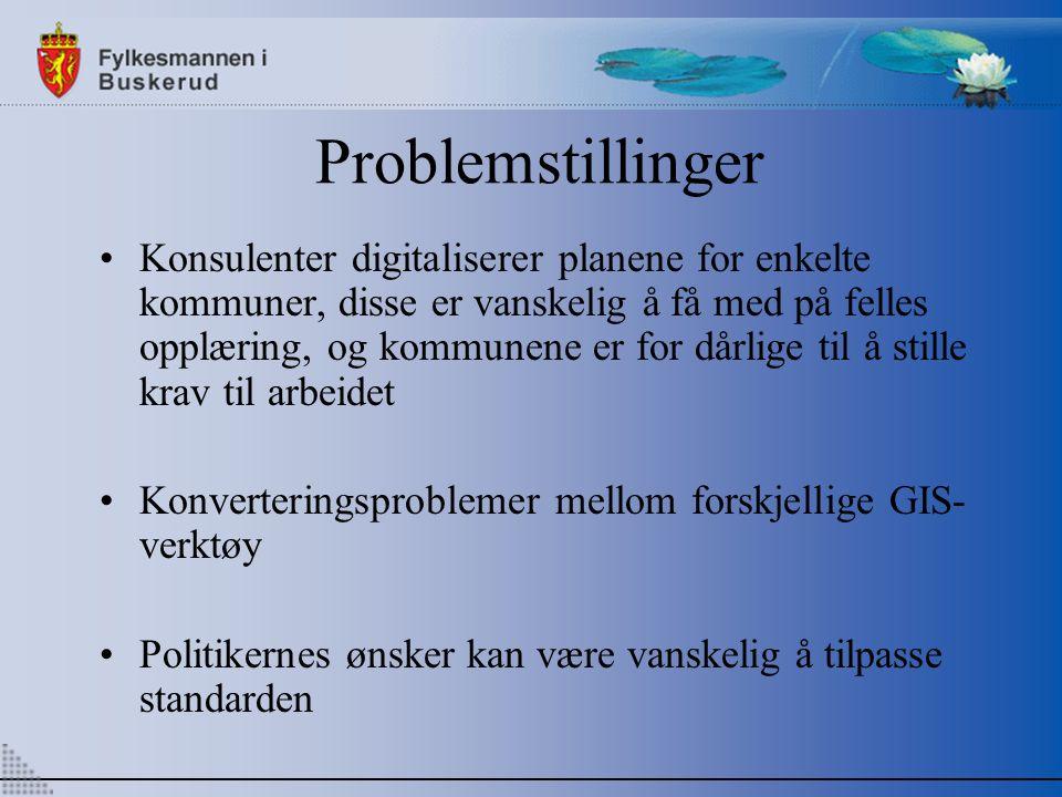 Problemstillinger Konsulenter digitaliserer planene for enkelte kommuner, disse er vanskelig å få med på felles opplæring, og kommunene er for dårlige til å stille krav til arbeidet Konverteringsproblemer mellom forskjellige GIS- verktøy Politikernes ønsker kan være vanskelig å tilpasse standarden
