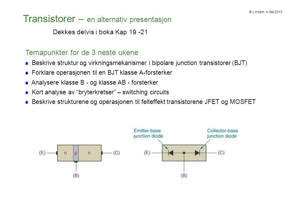 DC operasjon til en Bipolar Junction Transistor - BJT En BJT er bygget opp av tre dopede regioner i et halvledermateriale – separert med to pn-overganger (pn junctions) Disse regionene kalles Emitter, Base og Kollektor Det er to typer BJT-transistorer – avhengig av sammensetningen til de dopede områdene – npn eller pnp