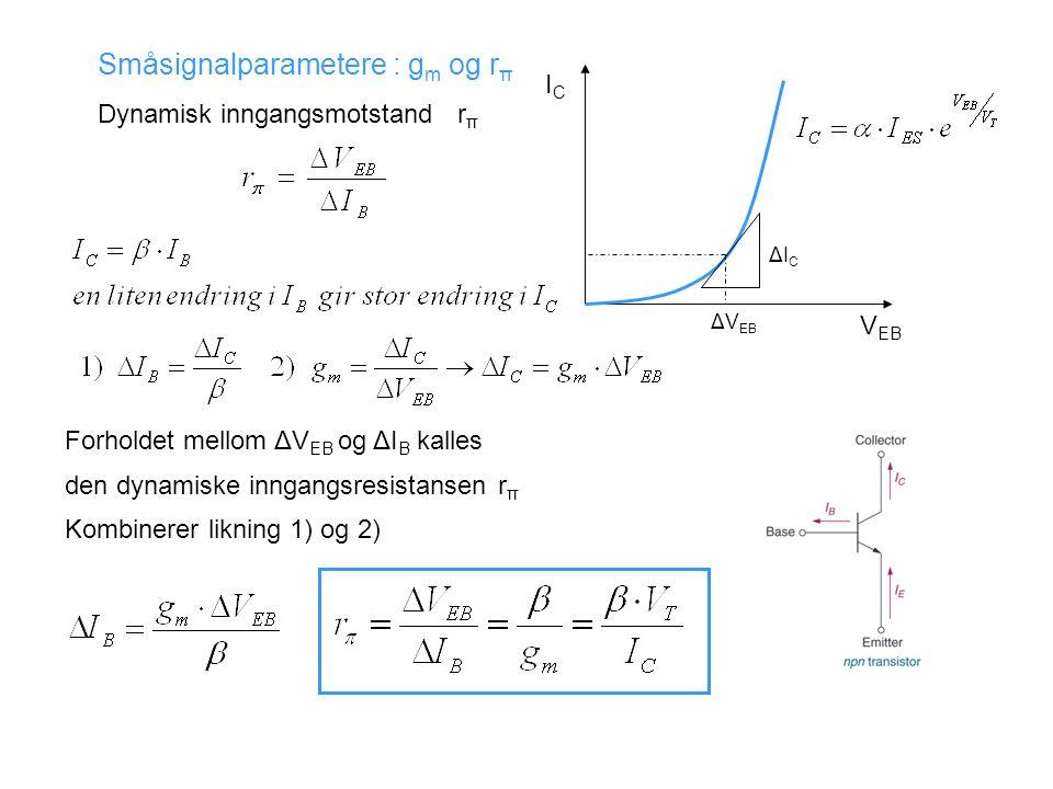 Småsignalparametere : g m og r π Dynamisk inngangsmotstand r π ΔICΔIC ΔV EB ICIC V EB Forholdet mellom ΔV EB og ΔI B kalles den dynamiske inngangsresistansen r π Kombinerer likning 1) og 2)