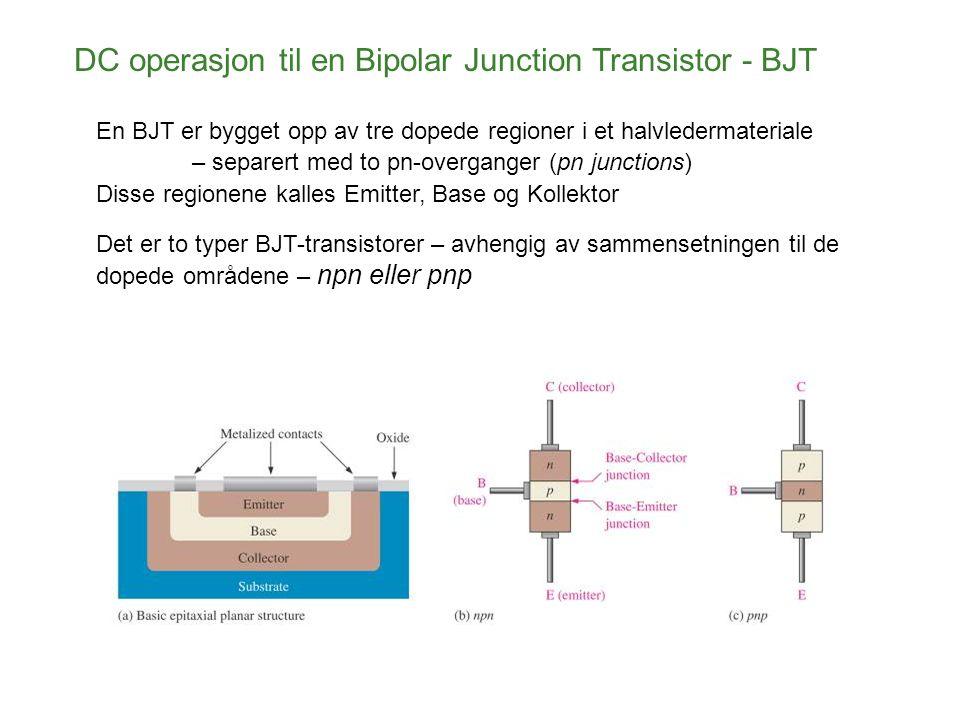 DC operasjon til en Bipolar Junction Transistor - BJT Det er to halvlederoverganger – ( junctions ) - base - emitter junction og base - collector junction Uttrykket bipolar refererer seg til at både elektroner og hull inngår i ladningstransporten I transistorstrukturen.