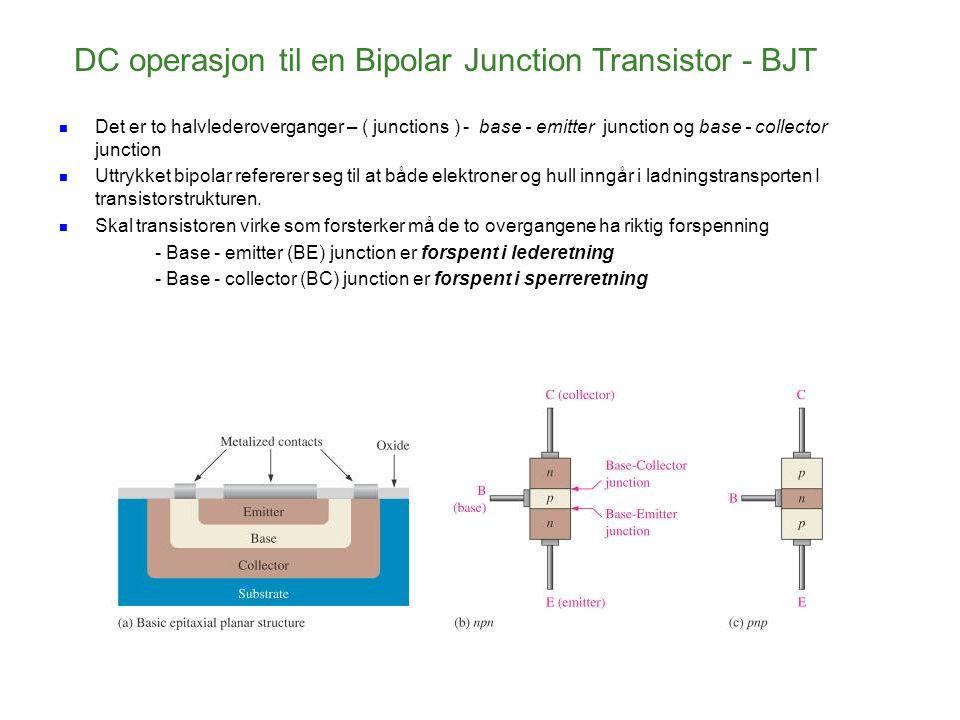 DC operasjon til en Bipolar Junction Transistor - BJT Det er to halvlederoverganger – ( junctions ) - base - emitter junction og base - collector junc