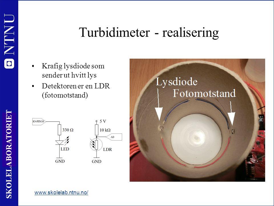 18 SKOLELABORATORIET Turbidimeter - realisering Krafig lysdiode som sender ut hvitt lys Detektoren er en LDR (fotomotstand) www.skolelab.ntnu.no/