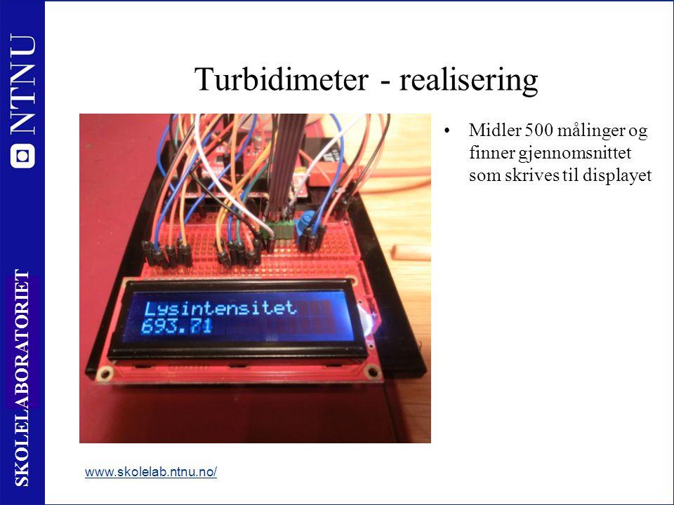 19 SKOLELABORATORIET Midler 500 målinger og finner gjennomsnittet som skrives til displayet www.skolelab.ntnu.no/ Turbidimeter - realisering