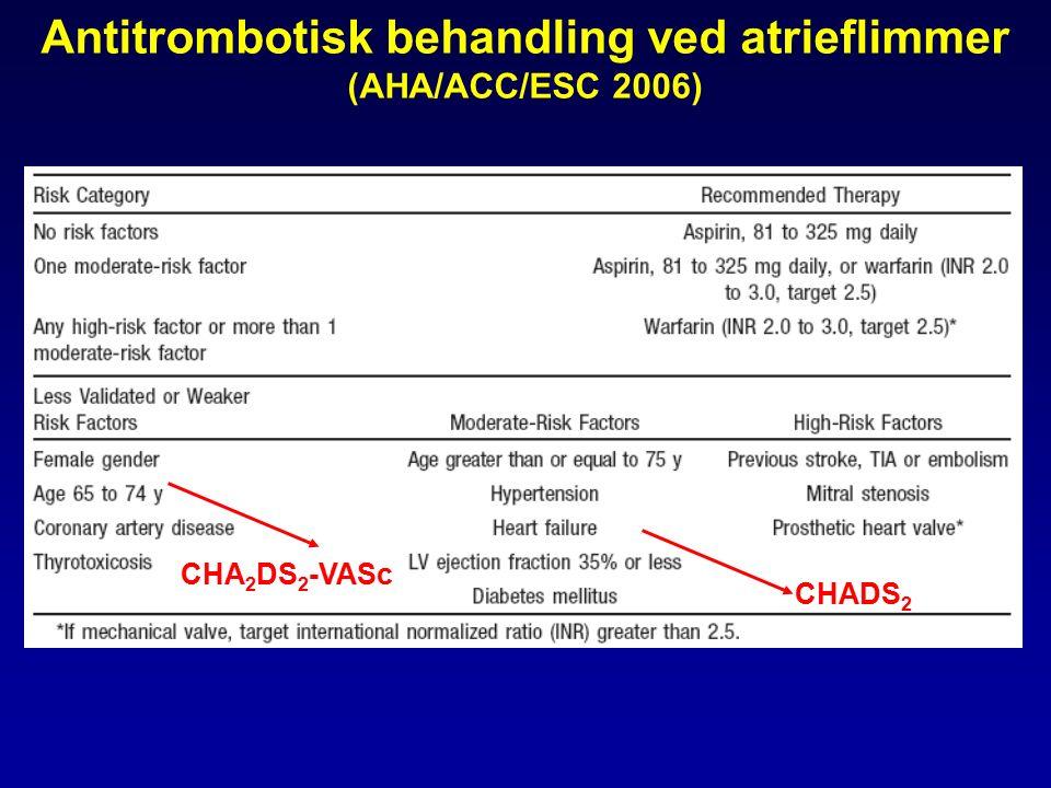 Antitrombotisk behandling ved atrieflimmer (AHA/ACC/ESC 2006) CHADS 2 CHA 2 DS 2 -VASc