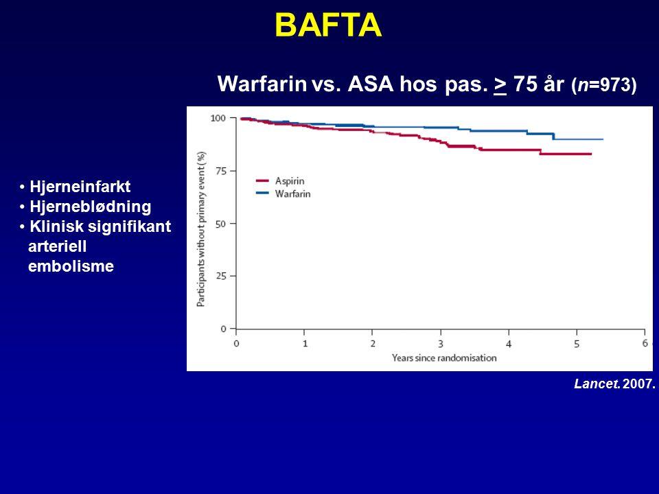 Warfarin vs. ASA hos pas. > 75 år (n=973) BAFTA Lancet.
