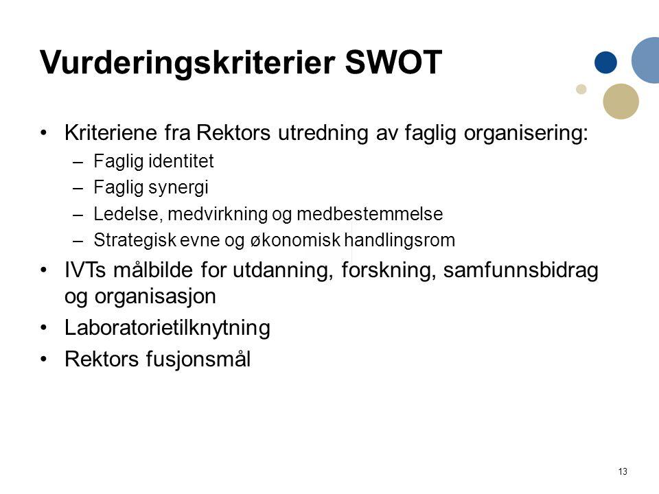 13 Vurderingskriterier SWOT Kriteriene fra Rektors utredning av faglig organisering: –Faglig identitet –Faglig synergi –Ledelse, medvirkning og medbes