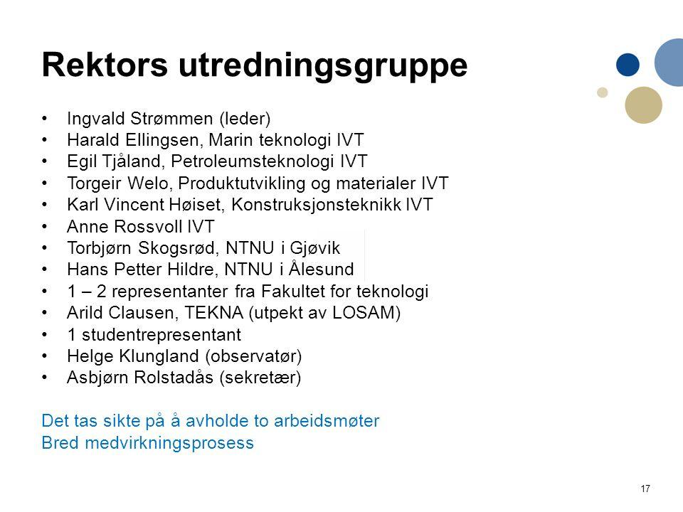 17 Rektors utredningsgruppe Ingvald Strømmen (leder) Harald Ellingsen, Marin teknologi IVT Egil Tjåland, Petroleumsteknologi IVT Torgeir Welo, Produkt
